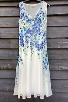HOBBS Beautiful Floaty Sheer Ivory/Blue Floral Lined Cowl Neck Dress UK12 EU40