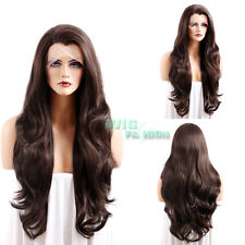 """26"""" Long Curly Light Brown Lace Front Synthetic Wig Heat Resistant"""