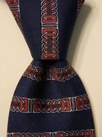 HERMES 887 PA Men's Silk Necktie FRANCE Luxury Geometric STRIPED Blue/Red EUC