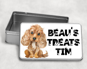 Personalised Cocker Spaniel Treat Tin, personalized Spaniel Biscuit tin,