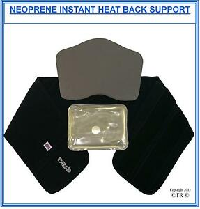 Proline Instant Heat Lower Back Support Black Neoprene Medical Kidney Belt New