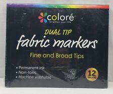 Colore Dual Tip Fabric Markers Fine & Broad Tips 12 Markers