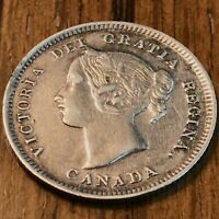 Last Year Type CANADA 1901 QUEEN VICTORIA FIVE CENTS 92.5% Silver (5¢) Coin