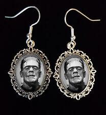 Frankenstein Antique Silver Drop Earrings Goth Horror Boris Karloff 1931