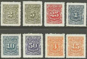 El Salvador 1895-1899 FRANQUEO DEFICIENTE Postage Due J2,4,23,25,29,40,43,54 MNH