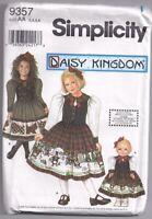 "DAISY KINGDOM 9357 Child's dress + 18"" Doll Dress Sewing Pattern 3 4 5 6 UNCUT"