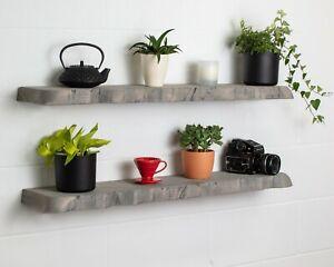 Grey Round Corners Live Edge- Thick- Floating Shelf- Wax Finish-Brackets Include