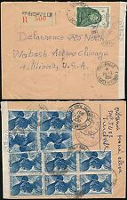 FRENCH IVORY COAST AOF 1957 REGISTERED...OPENED by CUSTOMS 11 stamps FRANKING
