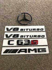 Gloss Black/Red C63s AMG V8 BITURBO Sticker Emblem Badge Package for C63s AMG