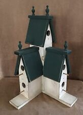 "25"" high Birdhouse Handmade vintage Folk Art House Wooden wood green three tier"