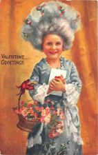 Valentine Greetings  Flowers Young Girl Rococo Raphael Tuck #130 Postcard