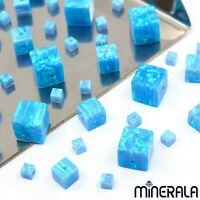 [WHOLESALE] SKY BLUE SYNTHETIC LAB CREATED OPAL CUBE SHAPE BEADS VARIOUS SIZES