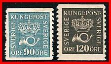 SWEDEN 1925 CROWN & POST HORN SC#152, 156 MLH CV$120.00