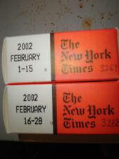 February 2002 New York Times on MICROFILM - 2 reels of film