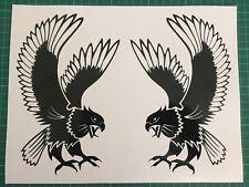 2 x Tribal Hawk Eagle Bonnet L + R Side Attacking Claws Vinyl Decal Sticker 43