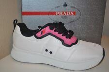 NIB PRADA Linea Rossa Runner Sneaker Shoe Nylon White Pink Women's 40 - 10