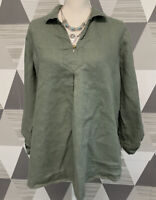 Ellen Tracy Women's Size L Green Linen V-Neck Long Sleeve Top Blouse #11C34