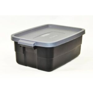 Rubbermaid Commercial RMRT100007 Gray Storage Box 10 gal. Capacity (Pack of 6)