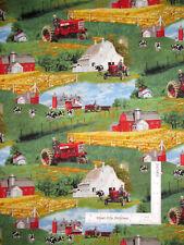 International Harvester Farmall Scenic Farm Tractor Cotton Fabric By The Yard
