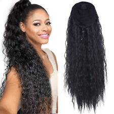 Synthetic Kinky Straight Ponytail Long Afro Drawstring Hair Bun Extensions 24''