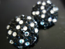 VINTAGE RETRO 80s FUNKY ! DIAMONTE STUDDED BUTTON CLIP ON STATEMENT EARRINGS