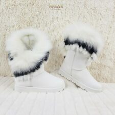 Furry White Faux Fur Lined Flat Winter Boots US Women's 7-11 Chi Chi