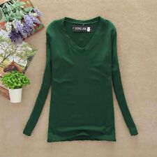 Women Pure Color V-neck T-shirt Base Shirt Autumn Winter Tops Blouses Basic Tees