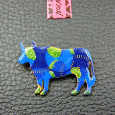 Cattle Charm Woman's Brooch Pin Gift New Betsey Johnson Blue Enamel Dairy