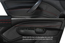 RED STITCH 2X FRONT DOOR CARD TRIM SKIN COVERS FITS SKODA OCTAVIA MK2 04-13