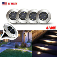 8 LED Solar Disk Lights Ground Buried Garden Lawn Deck Path Outdoor Waterproof