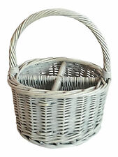 Round White Washed Wicker Four Section Cutlery Divided Basket  Desk Tidy Kitchen