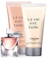 3 pcs Lancome La Vie Est Belle Perfume 4 ml + Shower Gel + Lotion 1.7 oz + Bag