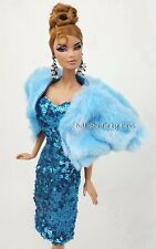 Blue Sequin FUr Coat Evening Dress Outfit Gown Silkstone Fashion Royalty Candi