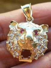 Real 10k yellow Gold man made ruby tiger pendant charm 1.20 inch long