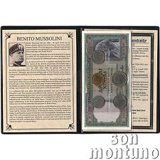 BENITO MUSSOLINI - Dictator of Italy - 5 Coins & 2 Banknote Collection in Album