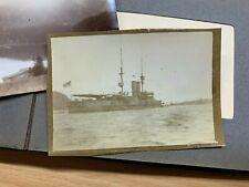 Antique Small Photo Album Of 28 Small Photos Including Military Destroyer Ship