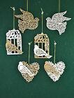 Gisela Graham Wooden White Gold Love Heart Bird Christmas Tree Decorations