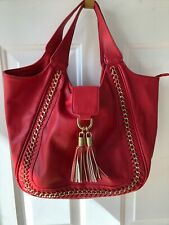 Big Buddha Women's Faux Leather Gold Chain Accent Tote Hand Bag