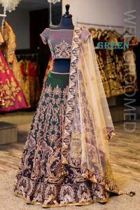 Indian Lehenga Choli Velvet Bollywood Wedding Bridal Party Green Lengha Saree