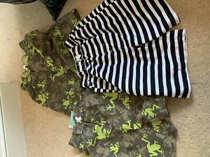 3 Boys Trunks Nano-baby 6 And 7 Years New Tags Lizard Green Navy White Stripe