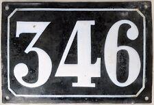 Large old black French house number 346 door gate plate plaque enamel metal sign