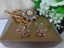 GORGEOUS! Vintage US AVON GOLDEN FLOWER  Earrings Brooch Pin 1997 Collection