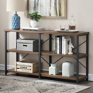 SHOCOKO Console Tables for Hallway, Rustic Sofa Table with Shelves Storage, Wood