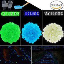300Pc Glow In The Dark Garden Pebbles Stone Walkways Light Solar 3 Colors Decor