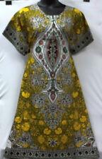 Women A-Line Dress Gown Kaftan Loose Vintage Maxi Print #16 Yellow Free Size