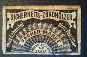 Streichholzetikett  Deutschland um 1900