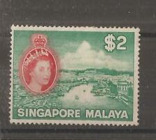 SINGAPORE 1955 $2 blue-green and scarlet  mh