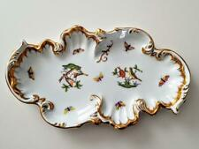 Large 12.85 Inch Herend Rothschild Bird Richly gilded Rococo Dish - Ist Quality