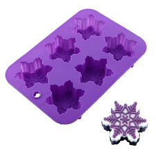 Mould 6-Snowflake Silicone Snow Soap Fondant Cake Tool Decorating Mold Baker