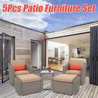 5 Piece Patio Furniture Set Outdoor Garden Cushioned Sofa Footstool Coffee Table